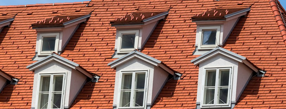 Large tiled roof with six windows