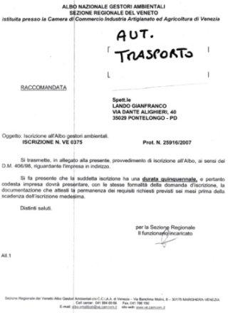 autorizzazione trasporto