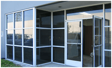 glass windows and door by the Amalgamated Glass