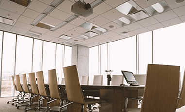 glass windows in a conference room repaired by Amalgamated Glass