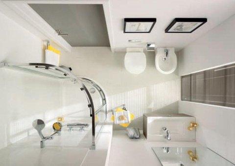 vista dall`alto di un bagno completo