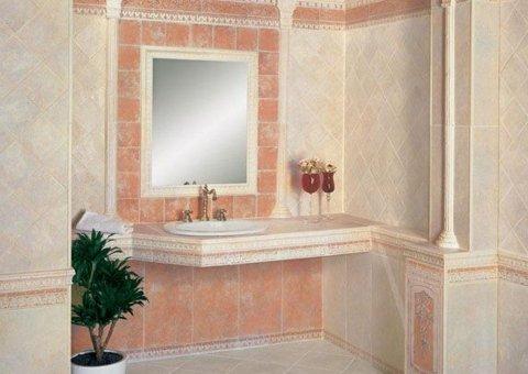 rivestimenti per un bagno con specchio