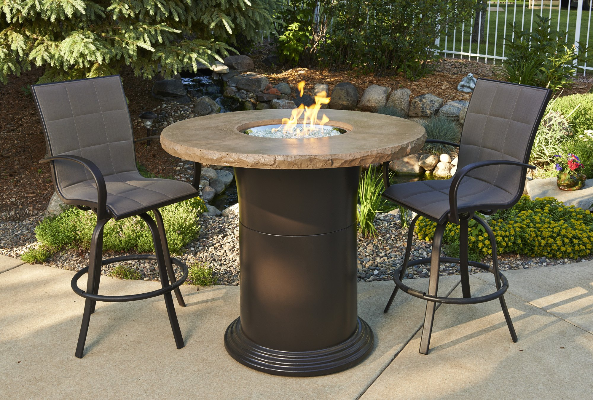 Pub Table, Marble, noche, colonial, promotion, sale, fire pit, firepit, fire table,  firetable, Outdoor Greatroom Company