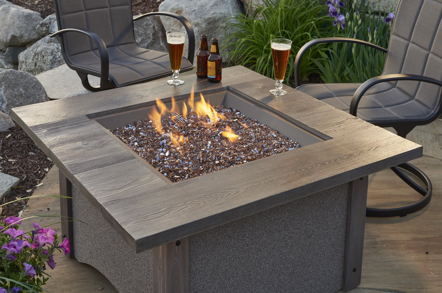 Pine Ridge, Square table, granite, dining table, promotion, sale, fire pit, firepit, fire table,  firetable, Outdoor Greatroom Company