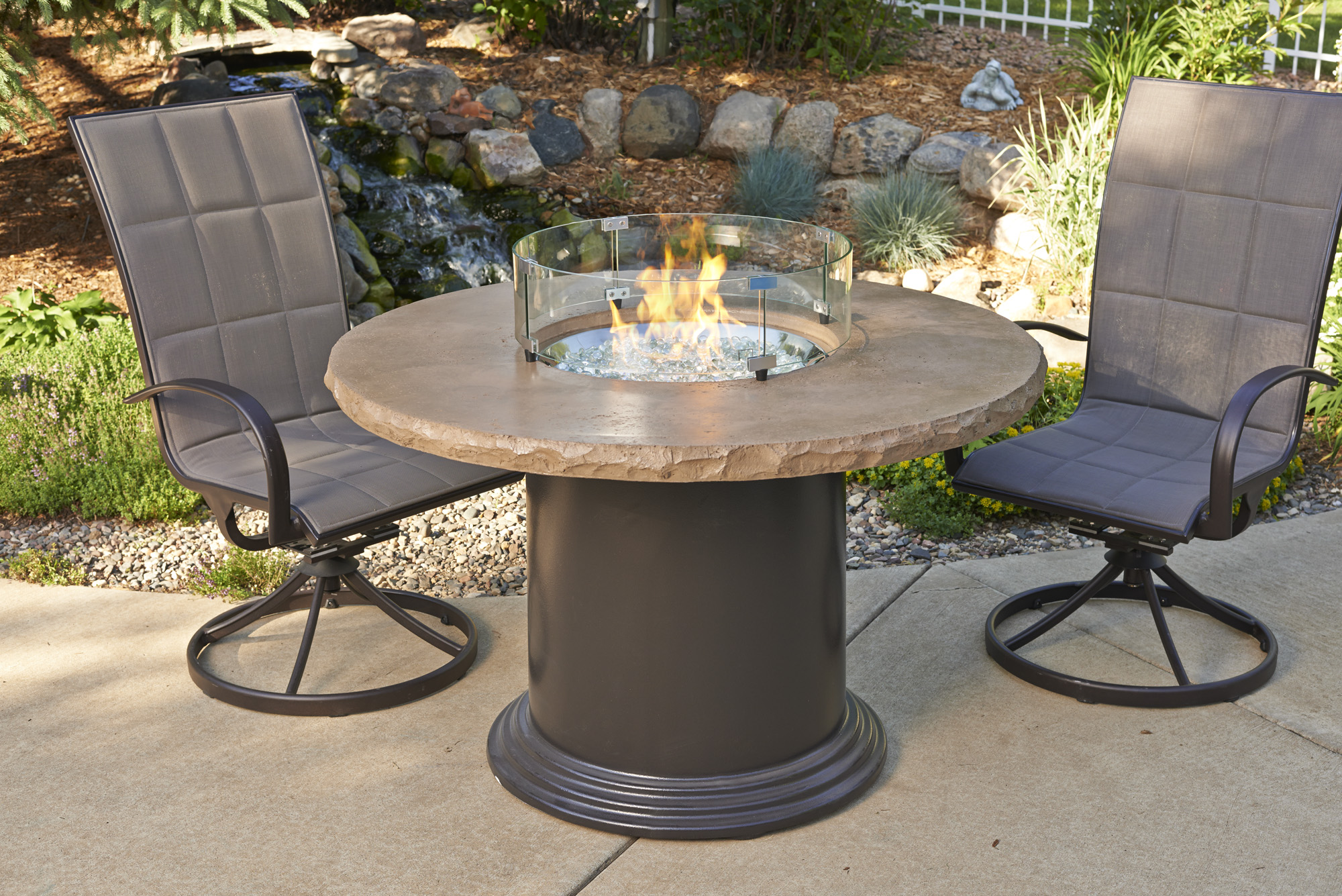 Marbelized Noche, Colonial, dining table, promotion, sale, fire pit, firepit, fire table,  firetable, Outdoor Greatroom Company