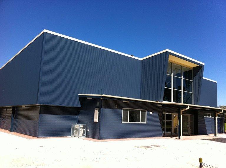 blue modern building