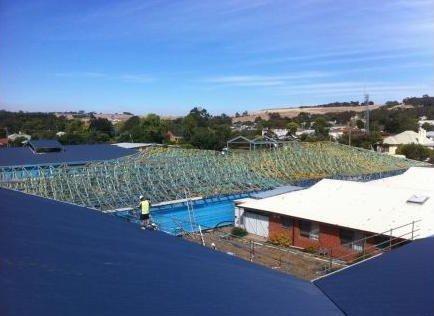 metallic roofing under construction