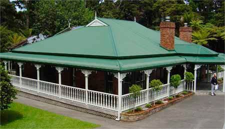 green metal roofing over patio
