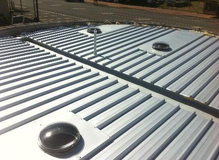 top view of metallic roof