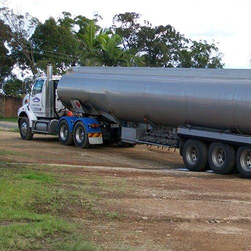 long silver fuel tanker