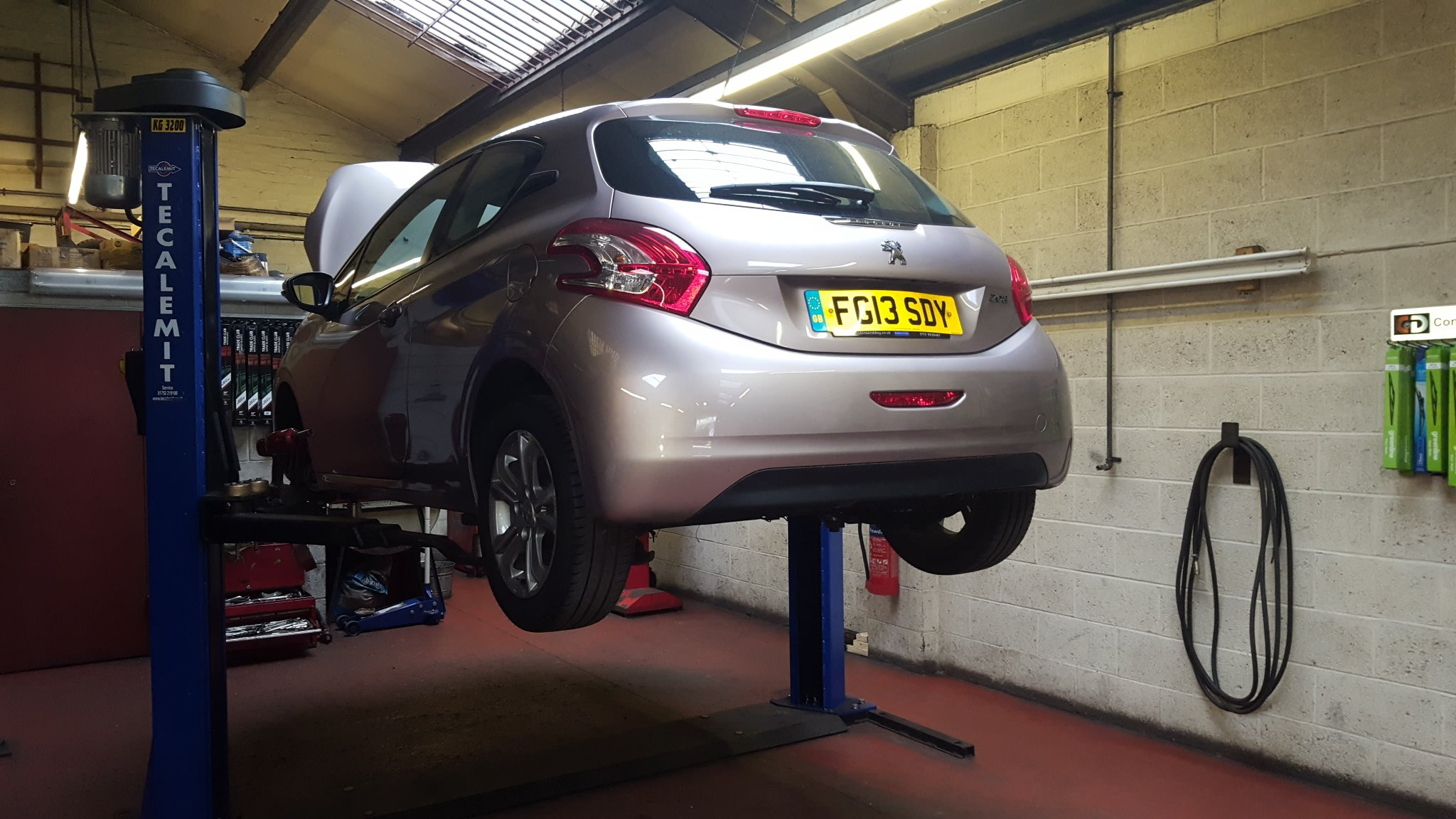 car being subjected to MOT test