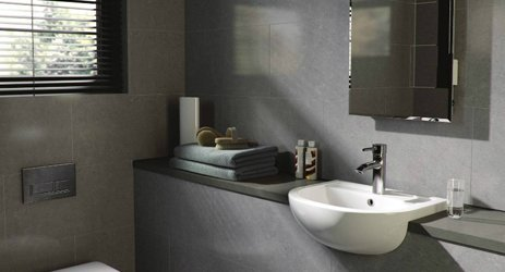 Gray coloured bathroom