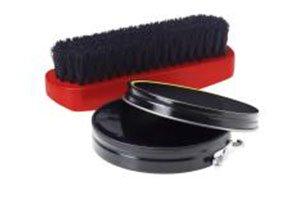 Shoe polish brush and shiner