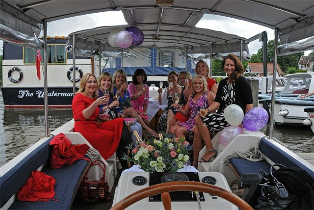 Close up of party aboard the 'Lily Anna'