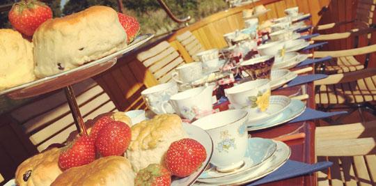 Cream tea on deck
