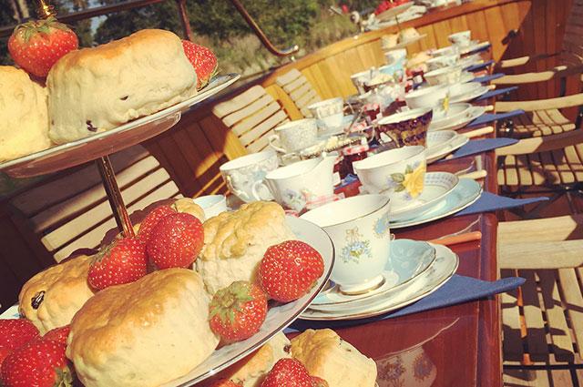 Traditional cream tea on deck