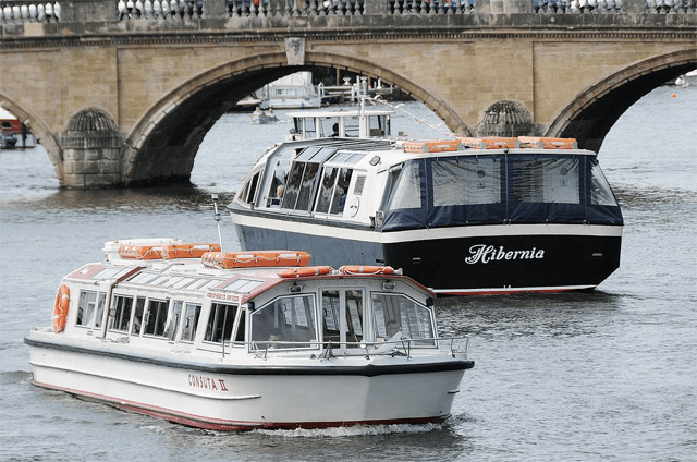 The Hibernia and Consuta II by a bridge