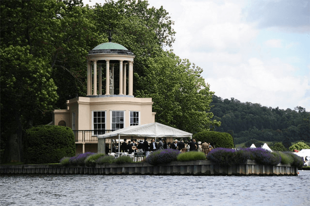 view from the river of a Thames island wedding