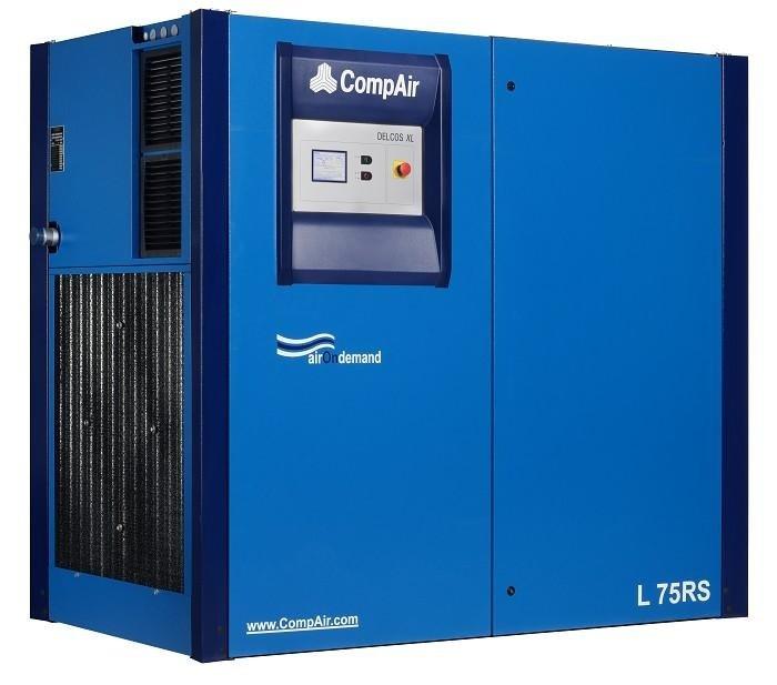 Compressore rotativo silenziato tecnologia inverter o ON/OFF gamma da 55 a 75 kw con controllo elettronico delcos XL.