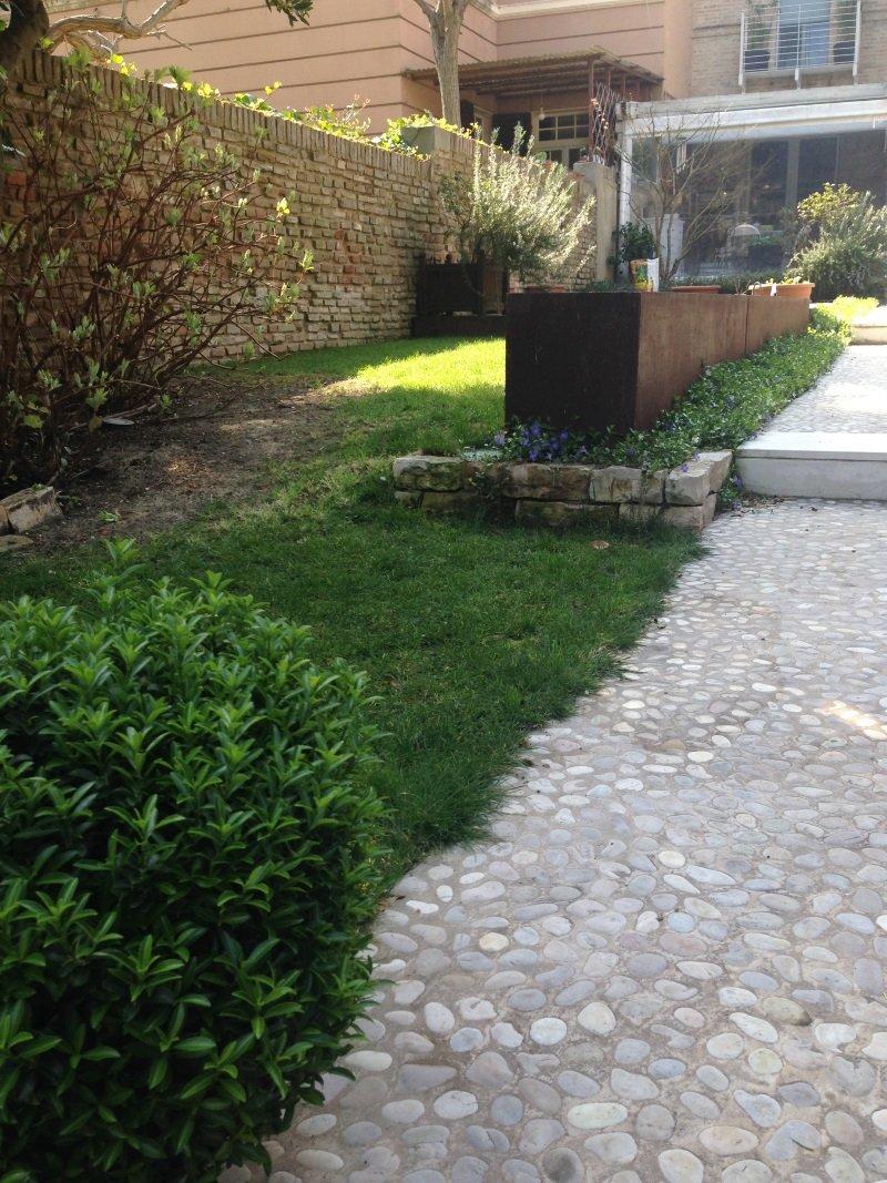 una camminata e delle piante davanti a una villa