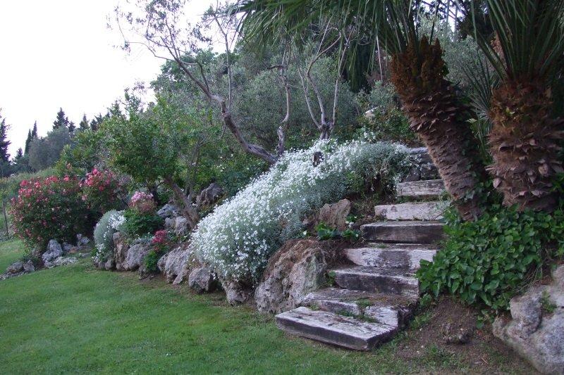 delle rocce e delle aiuole di fiori
