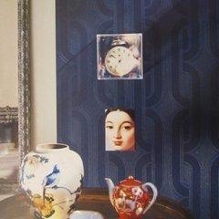 decorazione muro blu