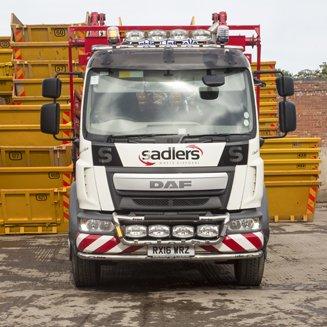 sadlers skip vehicle on site