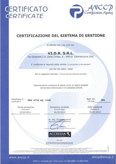 certificato del sistema di gestione