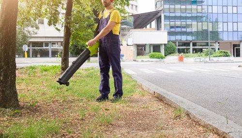 uomo pulisce giardino