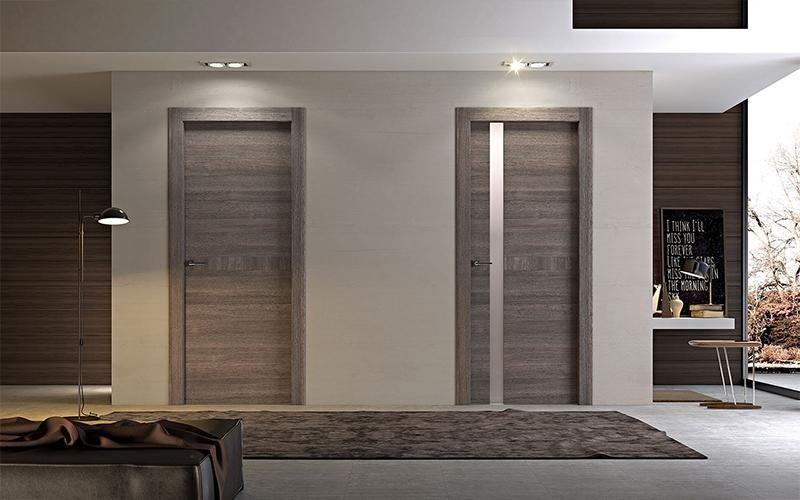 porte interne in legno grigie