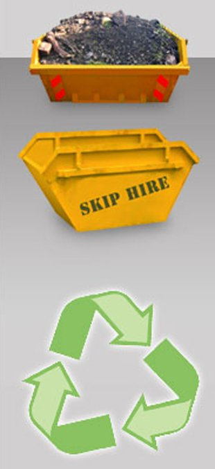 Two images of a skip and a recycling symbol