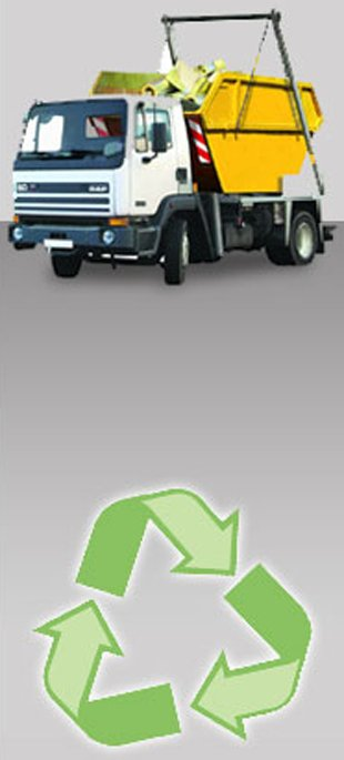 A skip on a truck and a recycling symbol