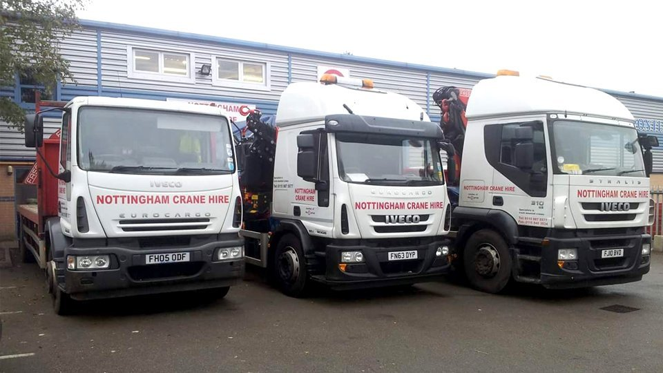 Nottingham Crane Hire company vehicles