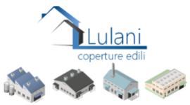 logo aziendale, quattro tipologie di capannoni industriali disegnati, due case stilizzate