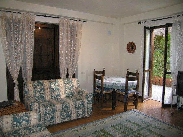 all'interno di un appartamento vista di due divani, un tavolo e tende alle finestre