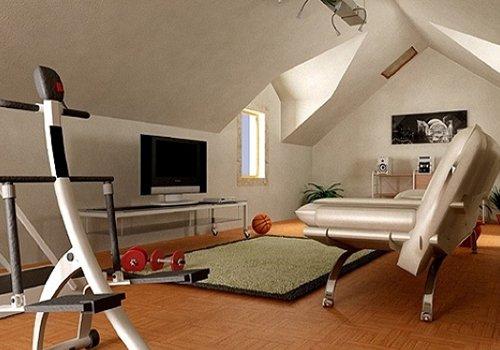 un crosstrainer, un divano, una tv e un letto matrimoniale