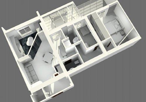una planimetria in 3d di un appartamento