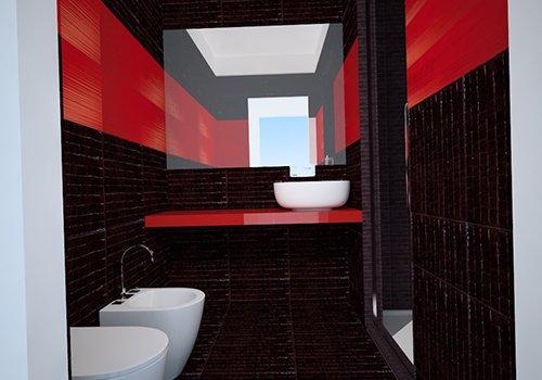 un bagno moderno con,wc,bidet,un lavabo con sopra uno specchio e muri con piastrelle rosse e nere