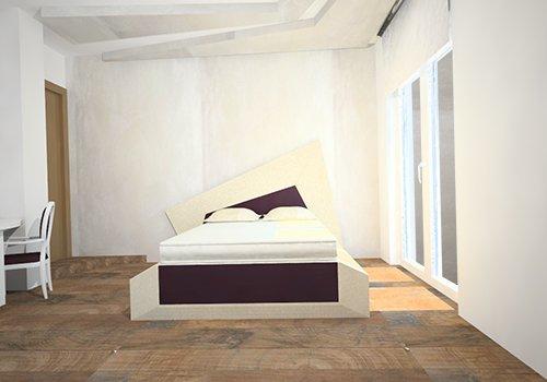 una camera con un letto matrimoniale al centro