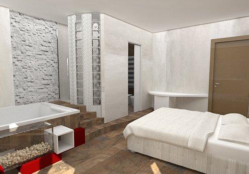 una camera con vista del letto e una vasca rialzata