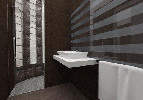 un lavabo in un angolo di un bagno