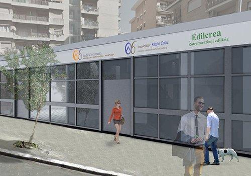 un disegno 3d di persone che camminano fuori da un edificio