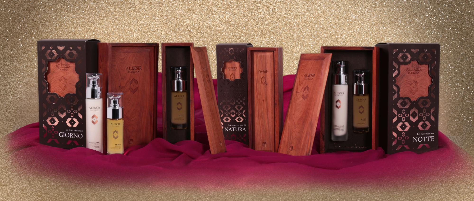 Creme ed oli artigianali in confezioni di pregiatissimo legno marocchino