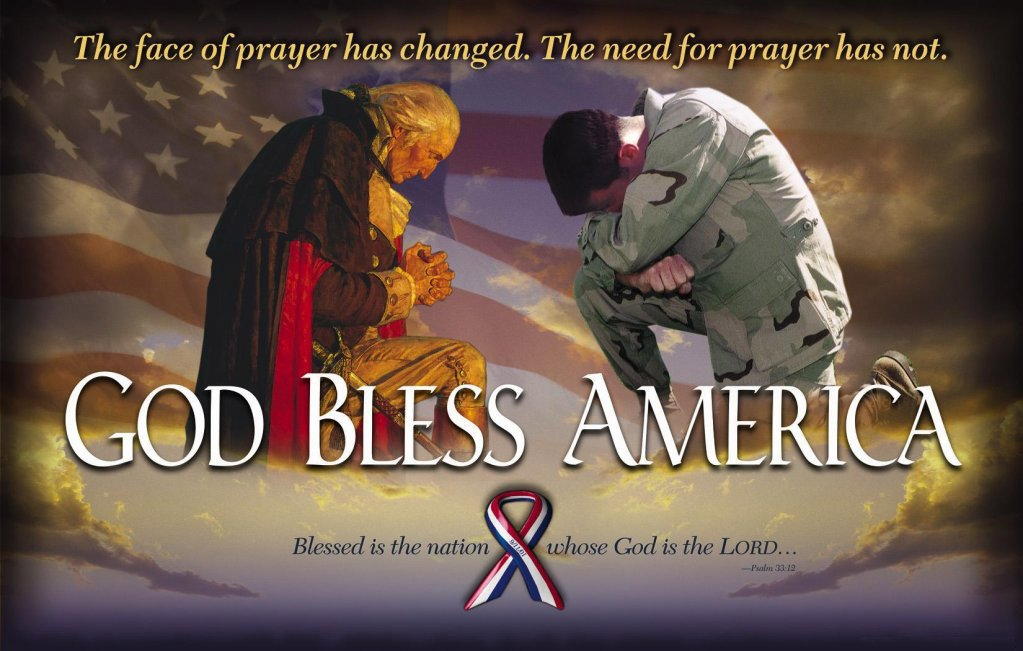 God Bless America picture with kneeling Washington and soldier