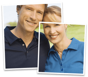 One image of a smilng couple, made to look like two images