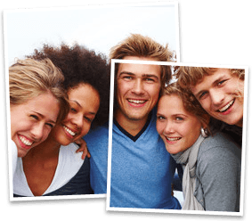 Four smiling teenagers