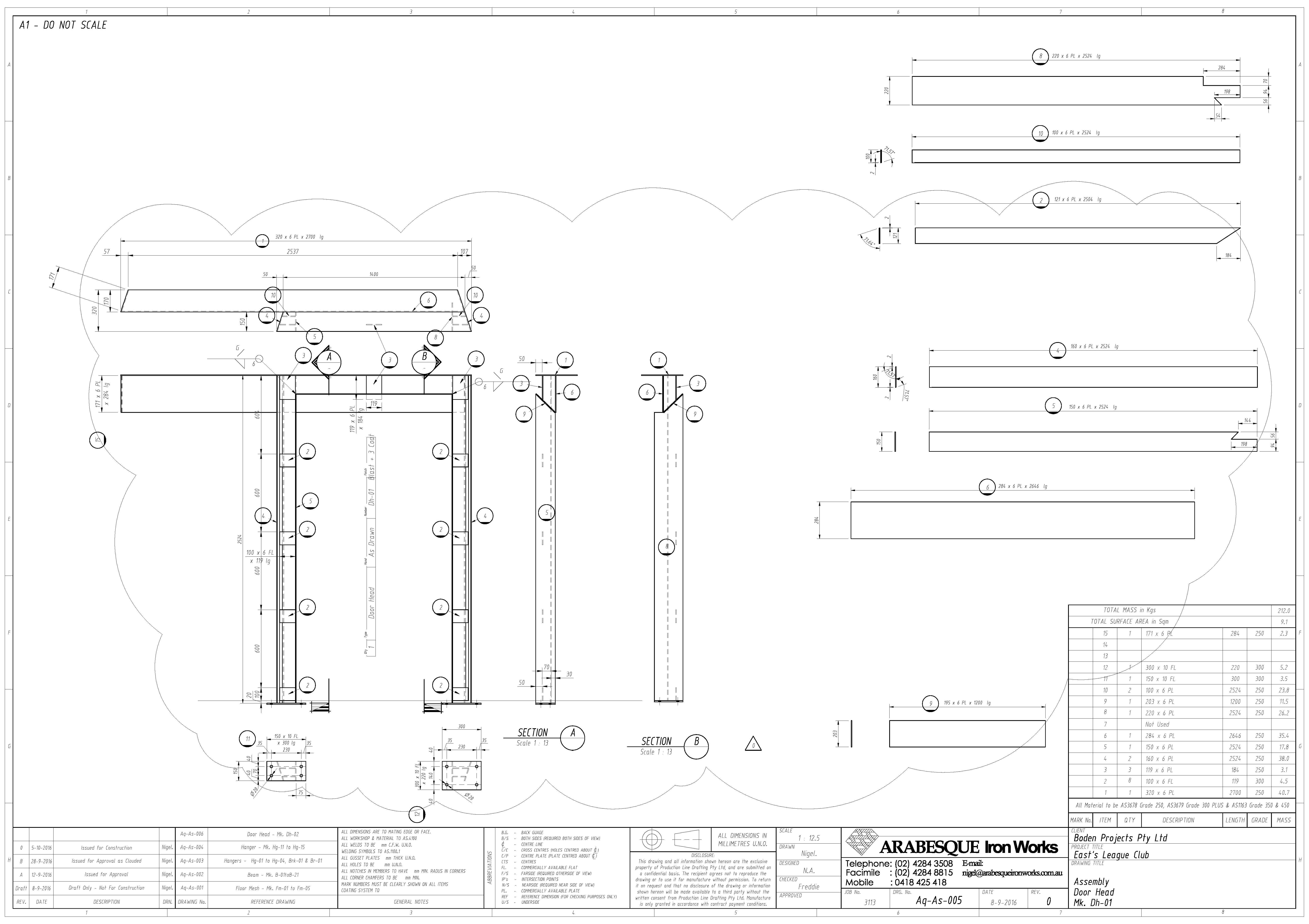 arabesque iron works pty ltd detailed drafting