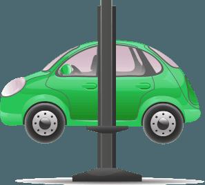 Icon of car on hoist