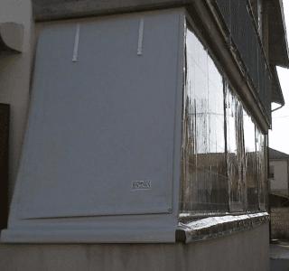 copertura in pvc e cristal trasparente su struttura obliqua