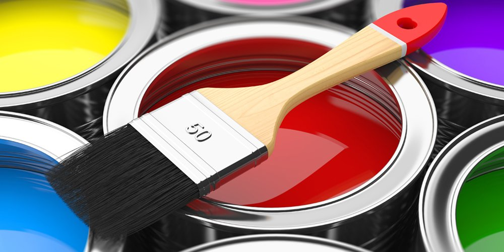 Paint and brush used by the professional painter and decorator